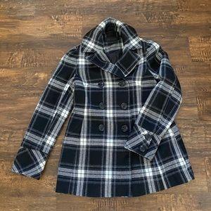 Steve Madden pea coat, jacket, plaid, medium